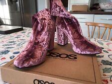 ASOS Pink Crushed Velvet Ankle Boots High Block Heel Size 5, not worn