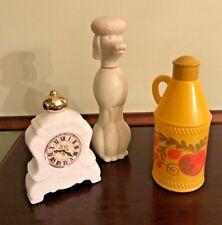 Lot Of3 Vintage Avon Bottles - Poodle, Clock & Pennsylvania Dutch