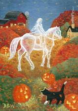 ACEO original miniature art painting Halloween ghost animals cat horse pumpkins