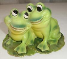 Adorable Vintage Josef Originals Frogs Couple in Love, On Lilypad, Japan