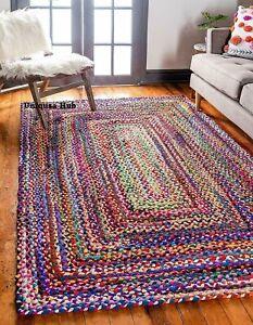 Rug 100% cotton handmade reversible area carpet modern living outdoor rag rug