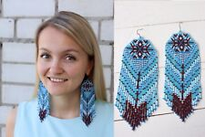 Native american beaded earrings, style Beadwork, native style earrings, Indian