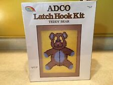 "New Sealed Adco Latch Hook Kit *Teddy Bear* Finished Size 18"" X 24"""