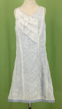 322 NWT Jean Bourget France girl white blue EASTER sleeveless dress ruffle 10