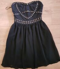 Bebo Black Studded/Chiffon Strapless Dress 8