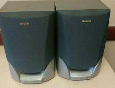 2 Aiwa Speakers Pair Model SX-NA115 Bass Reflex System Bookshelf Gray Black 8.C5