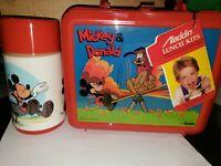 NEW Aladdin Walt Disney Production MICKEY and DONALD Plastic Lunchbox + Thermos