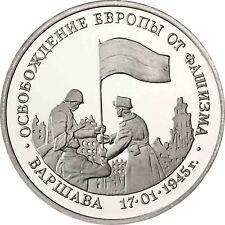 Russland 3 Rubel 1995 Befreiung von Warschau 1945 Gedenkmünze in Polierte Platte