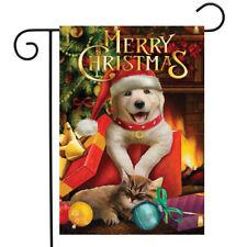 "Christmas Puppy Garden Flag Kitten Presents Cat 12.5"" x 18"" Briarwood Lane"