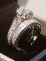 3 Ct Princess cut Diamond Engagement ring set Antique White Gold Platinum Finish