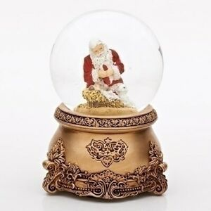 Kneeling Santa Musical Glass Glitterdome Antique Christmas 80mm Snow Globe 30460