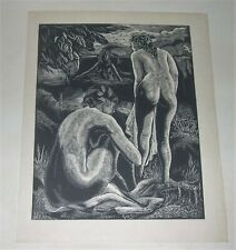 Bathers Woodblock Print, Emil Ganso Listed Artist
