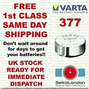 1X Varta 377 V377 AG4 SR66 LR626 SR626SW Watch Battery 377 FAST DELIVERY!!!