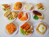 "SYLVANIAN FAMILIES HANDMADE FOOD 10 X MIXED FOOD LUNCH ON 1"" CARDBOARD PLATES"