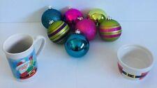 Santa Claus Mug Candy Dish 7 Christmas Tree Ornaments Lot Holiday Decorations