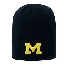Michigan Wolverines Uncuffed Knit Classic Beanie Stocking Stretch Sock Hat Cap
