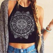 Womens Mandala Print Sleeveless Halterneck Tank Crop Tops Vest Blouse T-Shirt