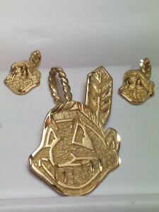 Chief Wahoo Cleveland Indians Baseball 14K Gold Pendant and Earrings
