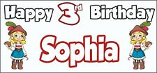 Girl Pirate 3rd Birthday Banner x 2 - Party Decorations - Personalised ANY NAME