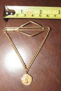 Vintage Brass Tie Clip Clasp w/ Chain & Navy Pilot Pendant ?