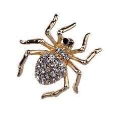 Hermoso Petite Chapado En Oro Cristal Araña Broche de diamantes de imitación