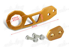 "GOLD 2"" CNC BILLET ALUMINUM ANODIZED JDM REAR RACING TOWING HOOK KIT UNIVERSAL 5"