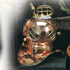 "12"" Polished Brass & Copper Mark V Dive Helmet Ice Bucket"
