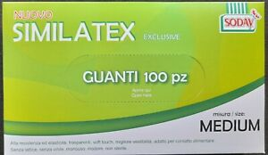 Guanti in similatex trasparenti monouso senza polvere senza lattice box 100 pz.