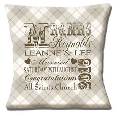 "PERSONAL WEDDING KEEPSAKE Names Date Time Venue check 16"" Pillow Cushion Cover"