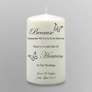 Personalised Wedding Memorial Candle Gift Keepsake Heaven At Our Wedding Small
