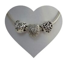 ~ Set of 3 Heart Silver Style Charms ~ FOR CHARM BRACELETS ~ Organza Gift Bag ~