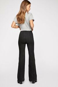 FREE PEOPLE BLACK SLIM PULL ON FLARES JEANS (SIZE W 25) RRP £68