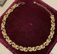 Vintage goldtone crown Trifari Necklace With Rhinestones And Faux Pearls