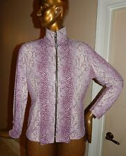 Misook Purple White Snake Print Clear Sequin Full Zip Jacket sz S