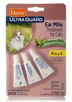 Hartz UltraGuard Ear Mite Treatment for Cats, contains Aloe, 3 tubes in the pack
