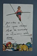 R&L Postcard: Valentine Comic, Circus Tight Rope Walker Entertainer Hat Crowd