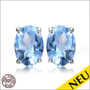 NEU 🌸 OHRRINGE Blau TOPAS 925 Sterling Silber OVAL Ohrstecker SKY Blue 🌸 Luxus