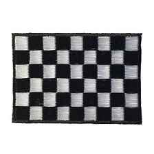 Embroidered Chequered Flag Racing Iron on Sew on Biker Patch Badge