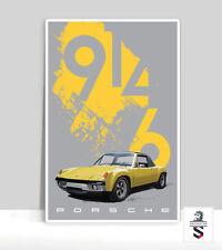 """Yellow Porsche 914-6 Poster. Aluminum poster 18 """"x 24"""""""