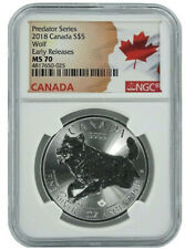 2018 Canada 1oz Predator Series Wolf NGC MS70 - Early Releases - Flag Label