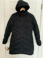 LL BEAN Womens Small Stretch Goose Down Black Quilted Puffer Warm Coat $265
