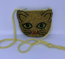 Vintage Purse Beaded Kitty Cat Little Coin Purse w/Shoulder Strap