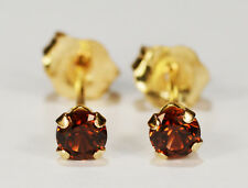 BEENJEWELED - GENUINE MINED CHAMPAGNE ZIRCON  EARRINGS~ 14KT YELLOW GOLD~3MM