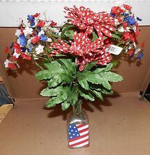 "Ashland Summer Heritage USA Flowers 14"" Tall & Vase 5"" x 2"" American Decor 132B"