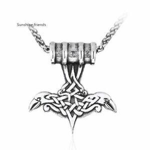 Thors Hammer Wikinger Anhänger Edelstahl Viking Krähenk Herren ohne Kette