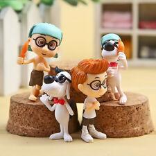 4pcs Mr. Peabody & Sherman Mini Action Figure Dolls Play set Toy Cup Cake Topper