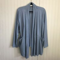 LOGO Lounge by Lori Goldstein Blue Open Front Cardigan w/Pockets Size 1X