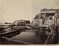 Napoli Castel Dell'Ovo Port Italia Foto Amodio Vintage Albumina Ca 1875