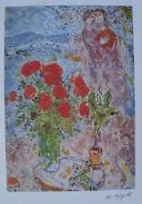 """Marc Chagall """"RED BOUQUET WITH LOVERS"""" Ltd. Ed. Litho. Facsimile Sig. Pencil #"""