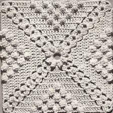 Vintage Crochet PATTERN to make Popcorn & Cluster Design Motif Block Bedspread